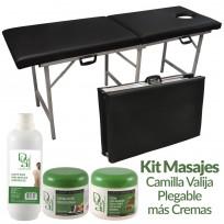 Kit Masajes: Camilla Valija Plegable Reforzada + Crema Masajes Reductores + Aceite para Masajes + Crema Base Dr. Duval