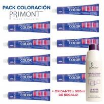 Pack Coloración Primont: 10 tinturas Primont Color x 60grs. + Oxidante Primont x900ml de regalo!