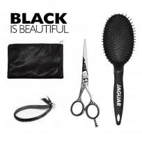 Kit Jaguar Black: Tijera de Corte Black Patty 5.5'' + Cepillo Circular + estuche