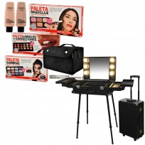 Maletin Valija Camarin de Trabajo Maquillaje Premium con Luz + Combo Paletas de Maquillaje Heburn