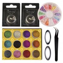 Kit Deco Uñas 14: Brillos + Moños 3D + Cintas + Carrusel + Pinza