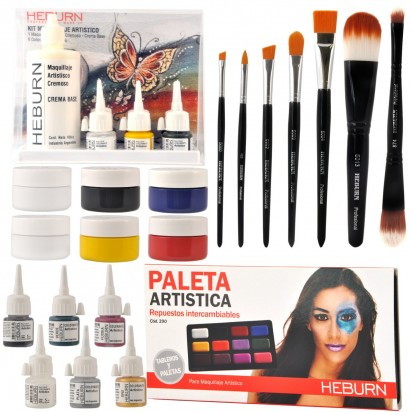 Combo Todo para Maquillaje Artístico Pinceles Body Painting Heburn