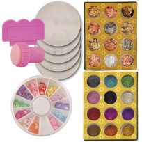 Kit Deco Uñas 5: Sello + Placas + Papel Decorativo + Brillos + Fimos