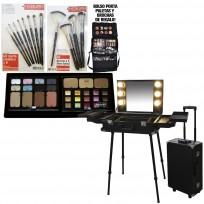 Maletin Valija Camarin de Trabajo Maquillaje Peluqueria Premium con Luz + Combo Maquillaje Full Tablero Pinceles Brochas Heburn