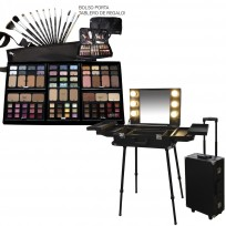Maletin Valija Camarin de Trabajo Maquillaje Premium con Luz + Combo Maquillaje Pinceles Tablero Premium MakeUp Artist Heburn