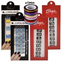 Kit Deco Uñas 12: Stickers + Stencil + Cintas