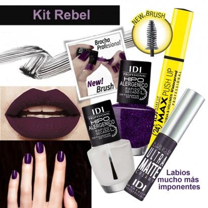 Kit Rebel Maquillaje: Mascara Push Up + Labial Liquido + Esmalte + Brillo