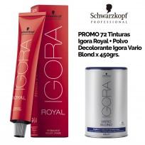 Promo Coloración Schwarzkopf: 72 tinturas Igora Royal + Polvo Decolorante Igora Vario Blond