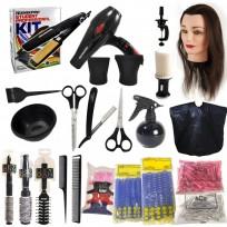 Kit Student Professional 3 /  Secador + Plancha WPRO + Set Tijeras y Navajín + Cabeza de Práctica + Peine de Corte + Peine de Cola + Accesorios de Peluqueria