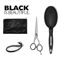 Kit Jaguar Black: Tijera de Corte Venezia 5.5'' + Cepillo Circular + estuche
