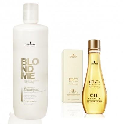 Shampoo BlondMe x1000ml + Aceite de Acabado Oil Miracle x100ml Schwarzkopf
