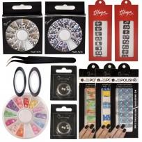 Kit Deco Uñas 6: Stickers + Carruseles + Cintas + Stencil + Moños + Pinza